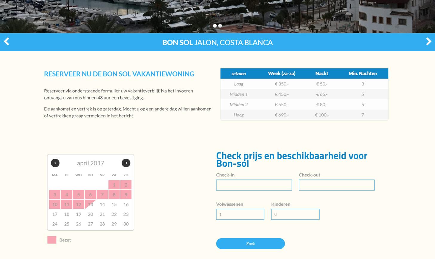 online reserveren kan eenvoudig op de website van Vakantieverhuur Flapper